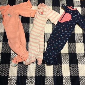 Other - Set of 3 Footie Pajamas 0-3 and 3 months